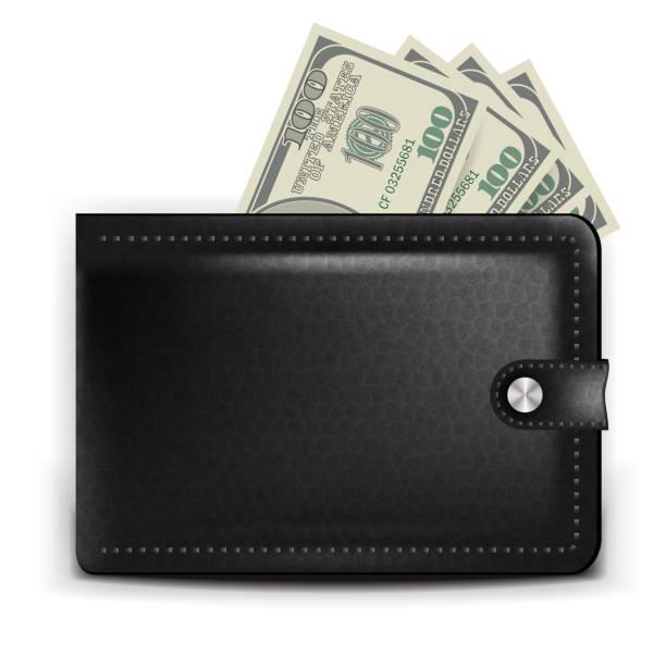Eine realistische Schwarze Geldbörse mit einer Zahlungskarte und Münzen – Vektorgrafik