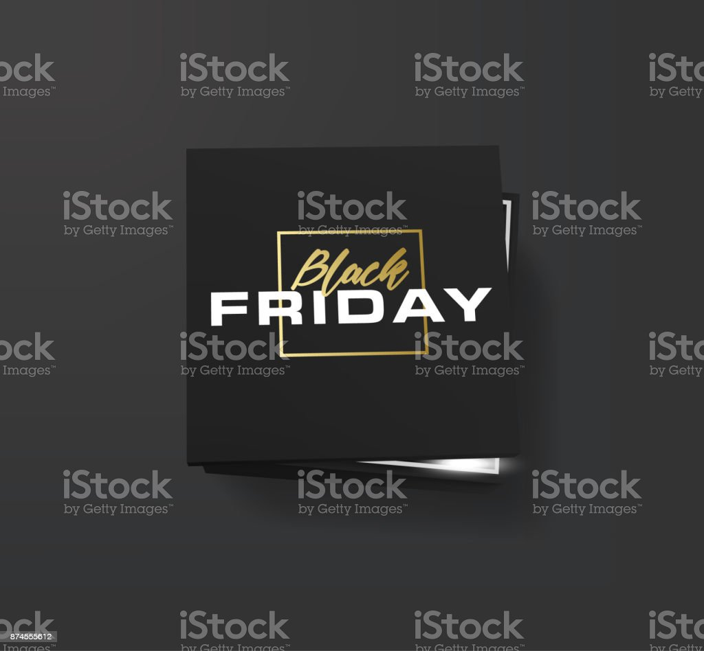 Realistic black shopping box with lettering Black Friday. Banner for black friday. Vector illustration. Isolated on white. Open black empty paper package or box vector art illustration