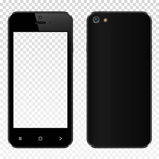 Realistische schwarz Smartphone mit transparenten Bildschirm isoliert. Vorder- und Rückseite anzeigen. – Vektorgrafik