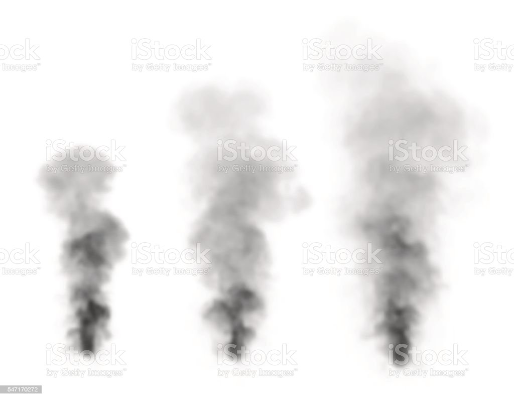 Realistic black smoke.Isolated on white background. vector art illustration