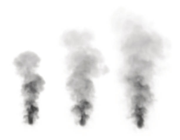 realistic black smoke.isolated on white background. - smoke stock illustrations