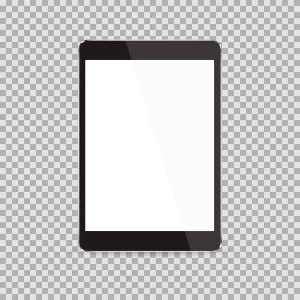 Realistic black tablet with blank screen isolated on white background. Vector illustration Realistic black tablet with blank screen isolated on white background. Vector illustration e reader stock illustrations