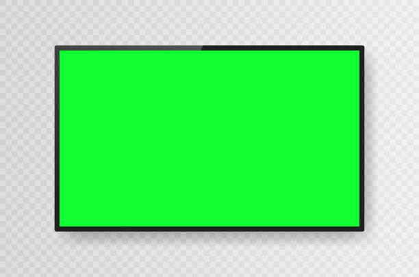 stockillustraties, clipart, cartoons en iconen met realistisch zwart televisie chromakey scherm dat op transparante achtergrond wordt geïsoleerd. 3d lege tv led monitor. vectorillustratie - green screen