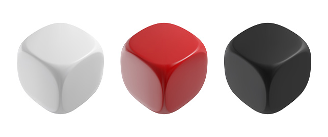 Realistic black, white and red solid cubes. Vector dices illustration.