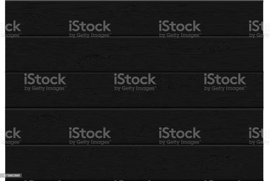 realistic black wood plank top view pattern background texture vector illustration. vector art illustration