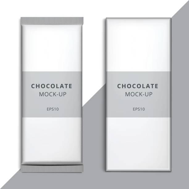 realistische leer 3d tafelware template-design. choco-verpackung-vektor-modell. weiße leere branding box verpackung mit wrapper isoliert. - vakuumverpackung stock-grafiken, -clipart, -cartoons und -symbole