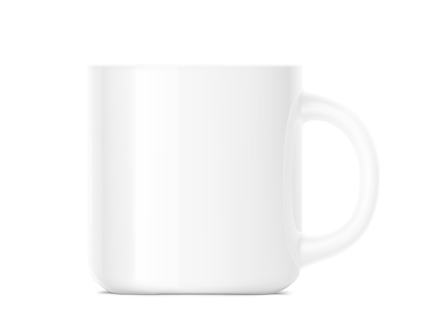 Realistic blank cup mockup isolated on white background.