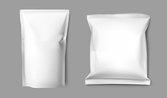 Realistic blank doy pack and pillow pack mock up.