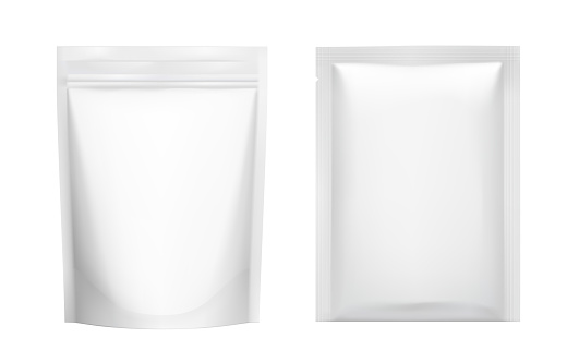 Realistic blank doy pack and sachet pouch pack mockup.