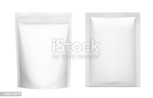 istock Realistic blank doy pack and sachet pouch pack mockup. 1063373318