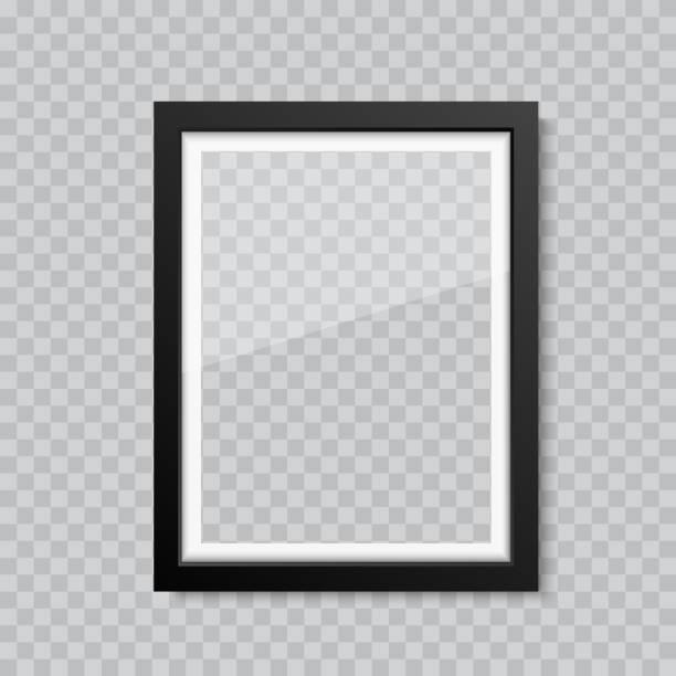 illustrations, cliparts, dessins animés et icônes de cadre photo ou photo en verre blanc réaliste. vecteur - cadre