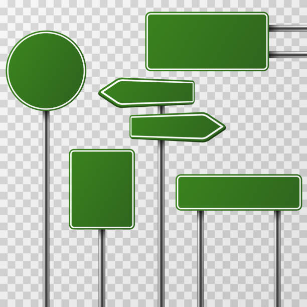 Realistic blank green street and road signs isolated vector set vector art illustration