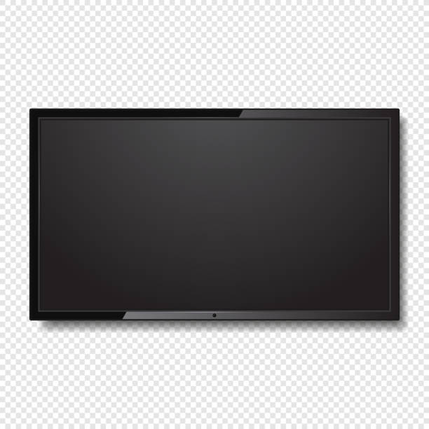 ilustrações de stock, clip art, desenhos animados e ícones de realistic blank led tv screen on transparent background. vector - led painel