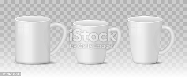 Realistic blank white and black coffee mug cups on transparent background. Hot drink container cup collection with shiny surface. Realistic 3D style. Templates for mock up. Vector illustration.