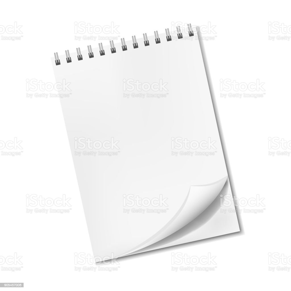 Realistic blank notepad with turned-up corner vector art illustration