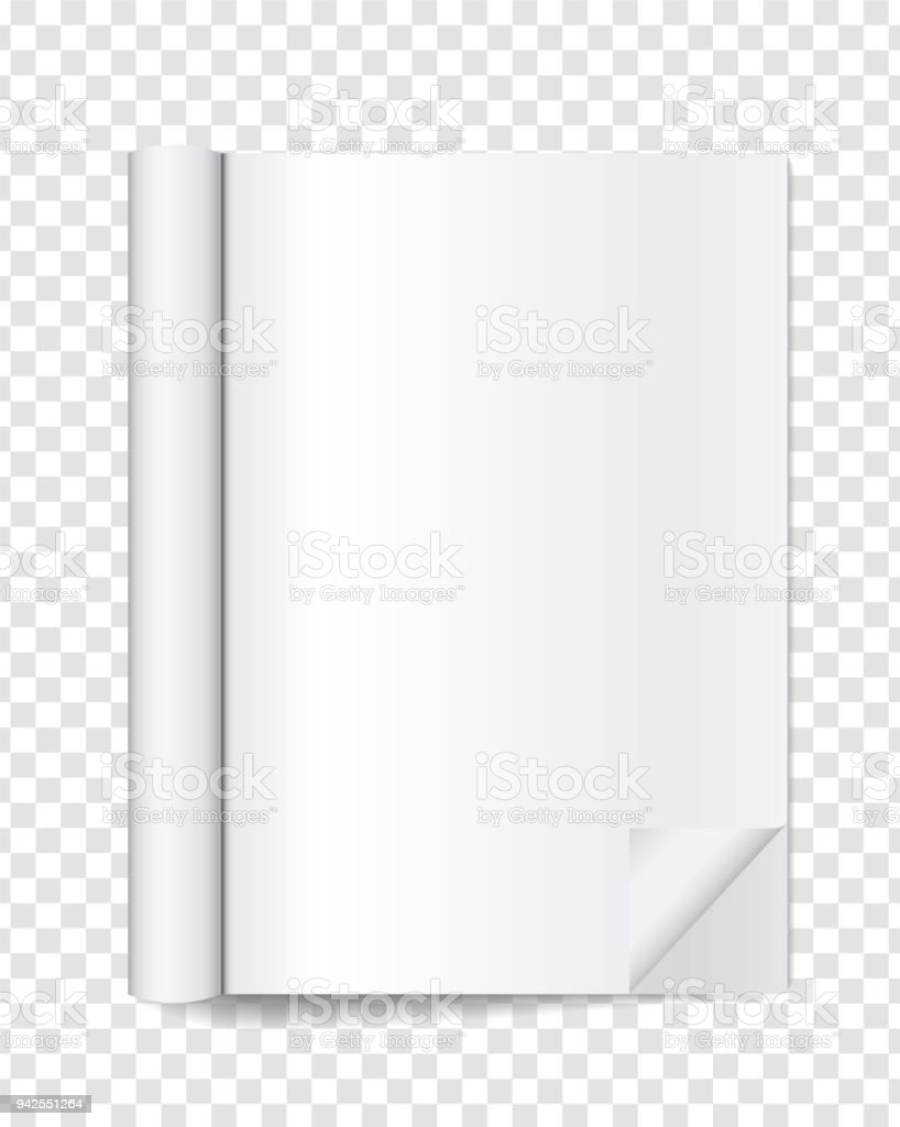 Realistic Blank Open Magazine With Rolled White Paper Pages On ...
