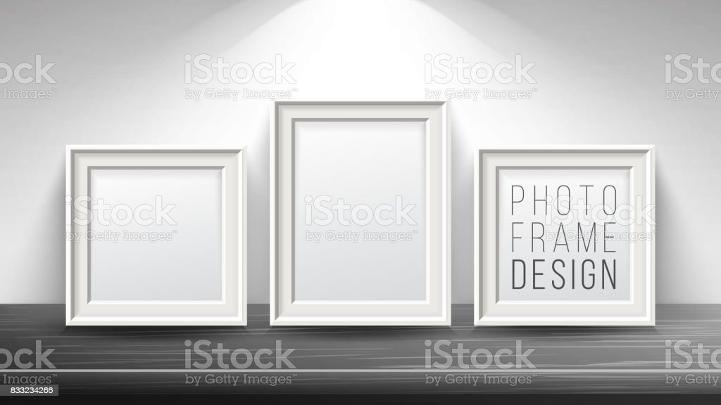 Realistic Blank Picture Frame Vector. Light Wood and Dark Wood Picture Frames Mock Up. Wooden Table On Interior Background. Front View. Realistic Design Template. Modern Clean Interior Illustration vector art illustration