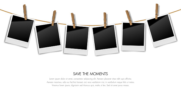 Realistic blank retro photo frames on a rope with wooden clips, Vector illustration