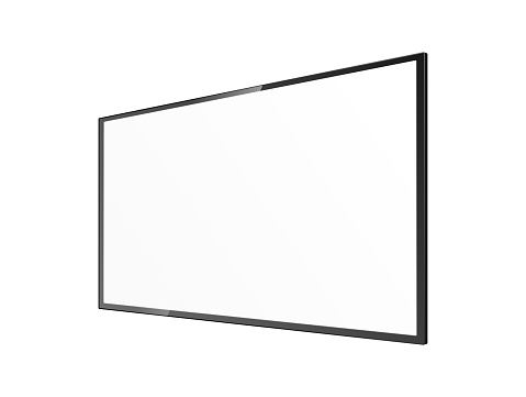 Realistic blank TV screen mockup from angled view - black rectangle panel
