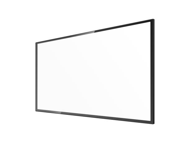 ilustrações de stock, clip art, desenhos animados e ícones de realistic blank tv screen mockup from angled view - black rectangle panel - led painel