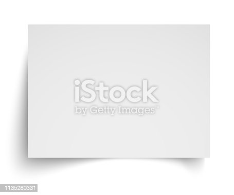 istock Realistic blank white A4 sheet template with soft shadows on white background. Vector Illustration EPS10 1135280331