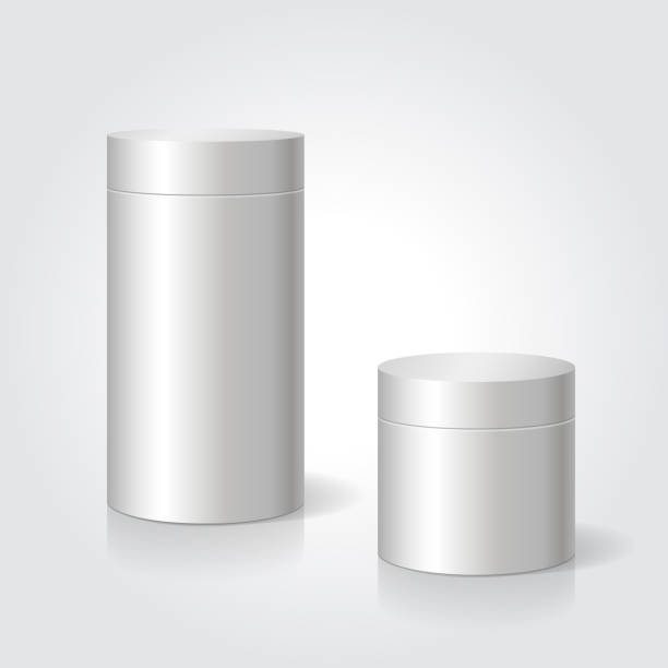 Realistic blank white package box mock up to advertise goods Realistic blank white package box mock up to advertise goods. Cylindrical container. Packaging template. Vector. tube stock illustrations