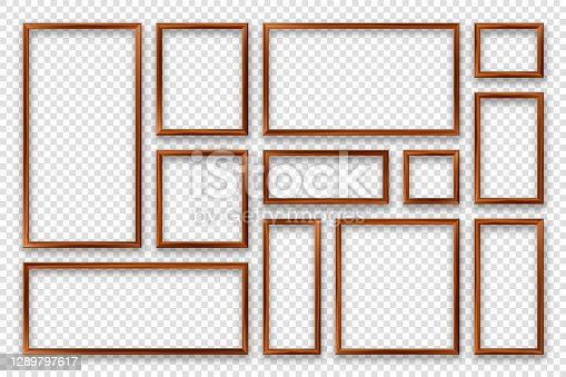 istock Realistic blank wooden picture frames collection. Modern poster mockup. Empty photo frame with texture of wood. Vector illustration 1289797617