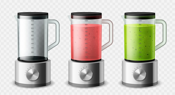 Realistic blender. Isolated 3d steel mixer empty and with different types fruit detox smoothies, kitchen appliances, cooking food electronics equipment, kitchenware device vector isolated set