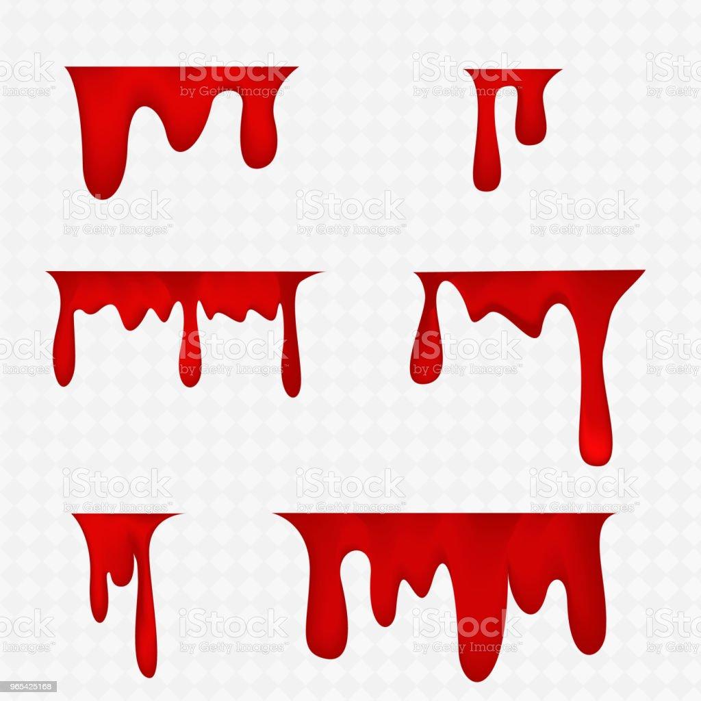 Sang réaliste isolé sur fond transparent. Gouttes et projections. - clipart vectoriel de Abstrait libre de droits