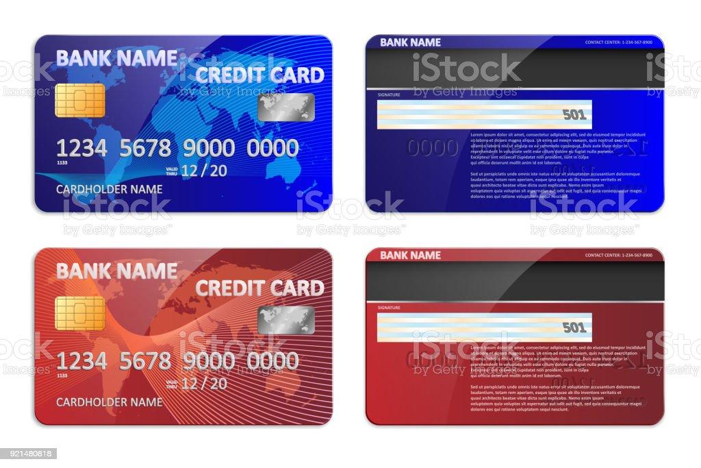 Realistische Blaue Und Rote Bank Kreditkarte Vorlage Isoliert Bank ...