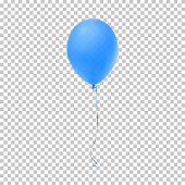 Realistic blue balloon. Vector illustration for your design.