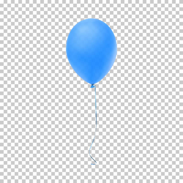 realistic blue balloon. - blue silhouettes stock illustrations