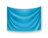 Realistic blue banner for advertising or presentation. Blank rectangular flag template isolated on white background. Wavy fabric mockup with copy space. Horizontal branding object vector illustration