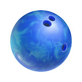 Realistic blue bowling ball with holes isolated on white background. Bowling competition and design element for tournament announcement. Sports equipment for indoor activity vector illustration.