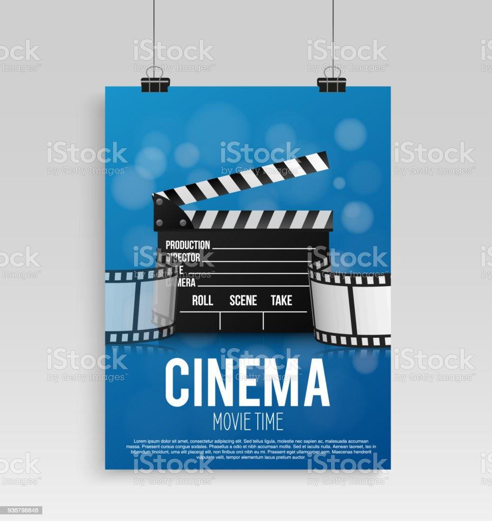 Ilustración de Cartel De Cine Realista De Azul En Un Marco Con Una ...