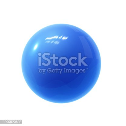 Realistic blue glossy 3D sphere with reflections. Realistic vector template for your design.