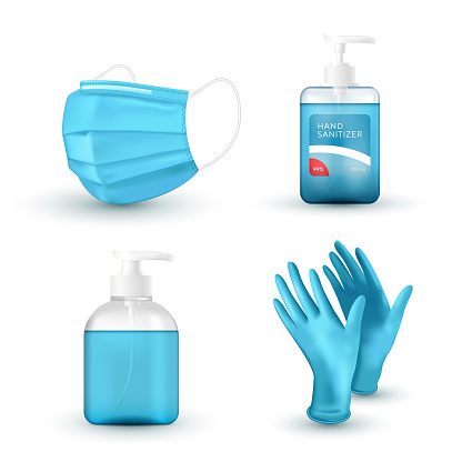Realistic blue medical face mask, medical latex gloves, hand wash soap and sanitizer. Virus protection. 3D icon set. Vector illustration.