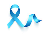 Realistic blue ribbon isolated over white background. Symbol of prostate cancer awareness month in nowember. Template for poster. Vector illustration.