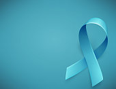Realistic blue ribbon symbol of prostate cancer awareness month in november. Template background for poster. Vector illustration.