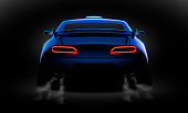 realistic blue sport car back view with unlocked rear lights in the dark, vector illustration
