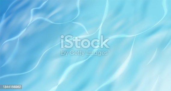 istock Realistic blue water ripple surface background, ocean beach pool with gradient color 1344156952