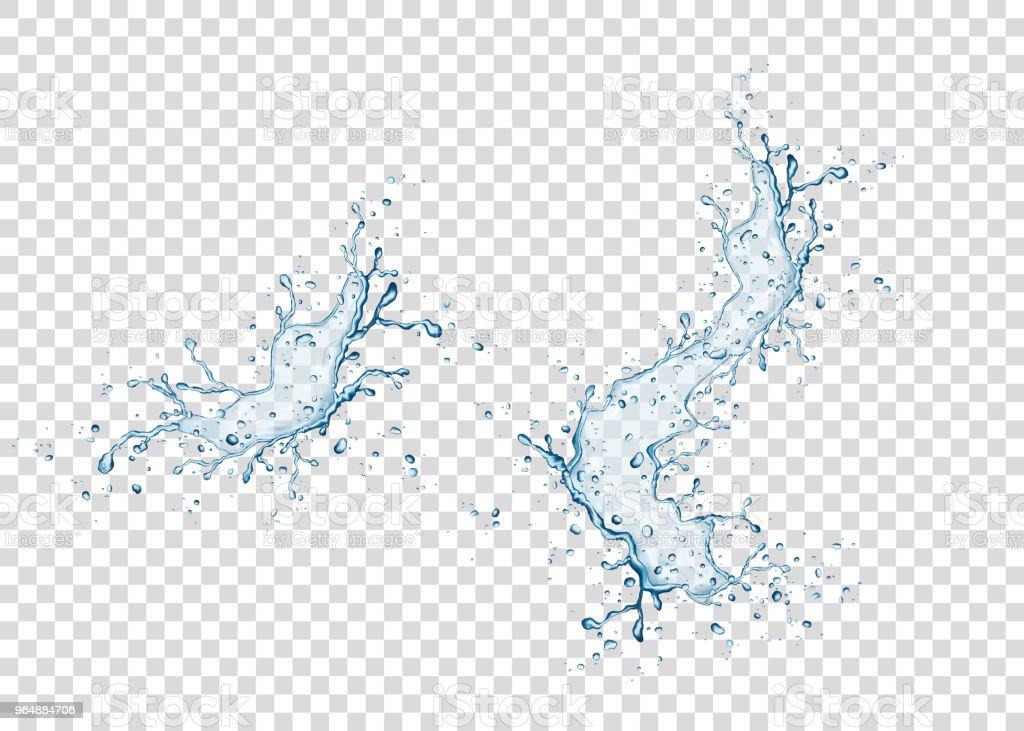 Respingos de água azul realista e gotas em fundo transparente. - ilustração de arte em vetor