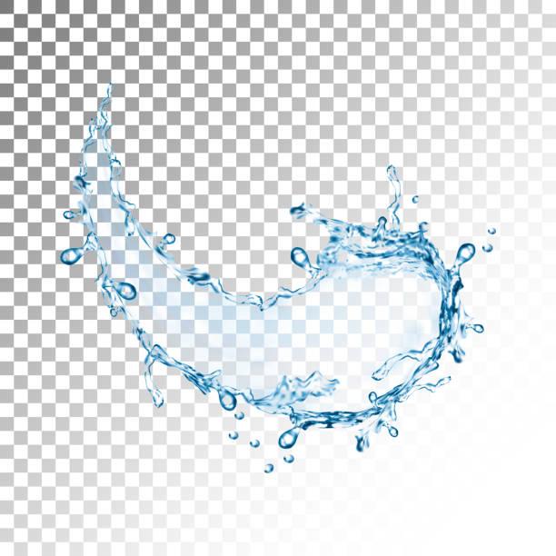 realistische Blue Water Splash mit Tropfen, Vektor-illustration – Vektorgrafik