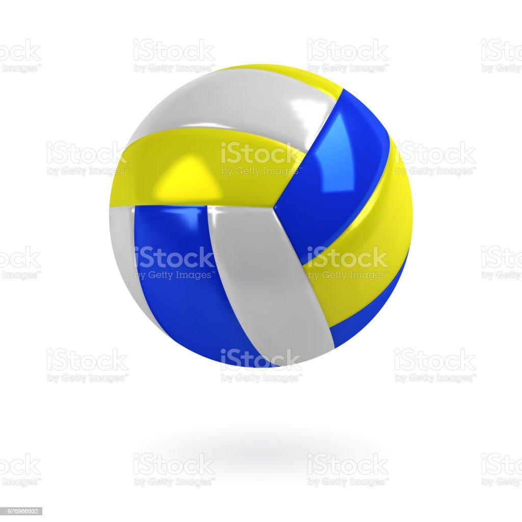 リアルな青、黄色と白の色のバレーボールのボール。分離ベクトル。 ベクターアートイラスト