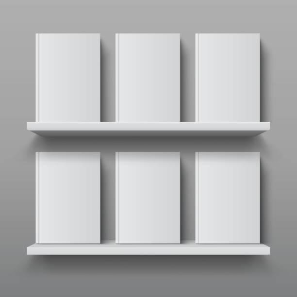 Realistic bookshelf with books. Library shelf mockup, modern office bookcase, plywood wall shelf vector design template vector art illustration