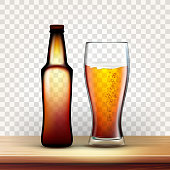 istock Realistic Bottle And Full Glass Of Red Beer Vector 1145191155