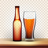 istock Realistic Bottle And Glass With Bubble Beer Vector 1145191145