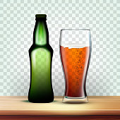 istock Realistic Bottle And Goblet With Dark Beer Vector 1145191166