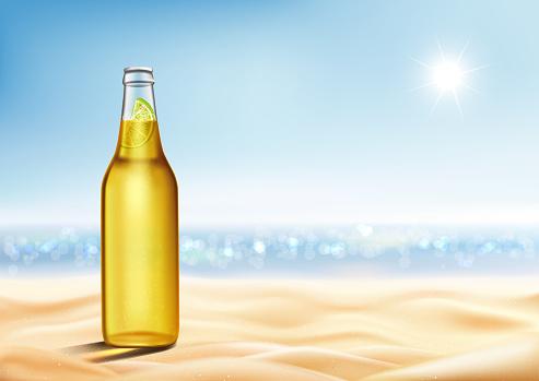 Realistic bottle of light lager