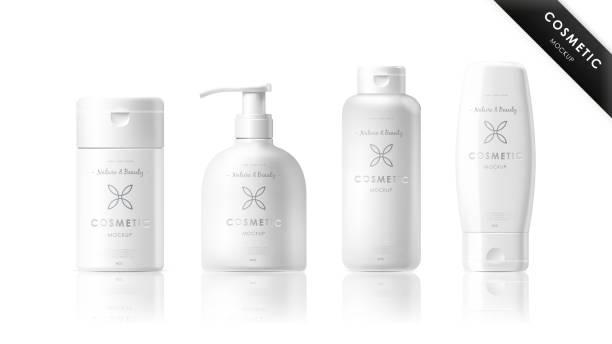 realistische flasche satz. kosmetische marken-vorlagen - shampoos stock-grafiken, -clipart, -cartoons und -symbole